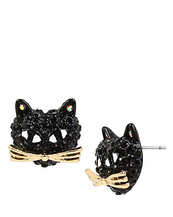 SKELETONS AFTER DARK CAT STUD EARRINGS