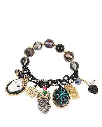 SKELETONS AFTER DARK CHARM HALF STRETCH BRACELET