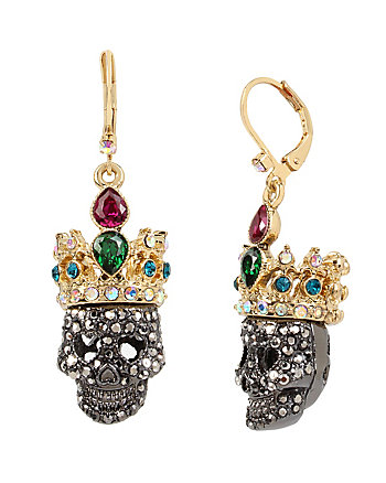 SKELETONS AFTER DARK CROWN SKULL DROP EARRING