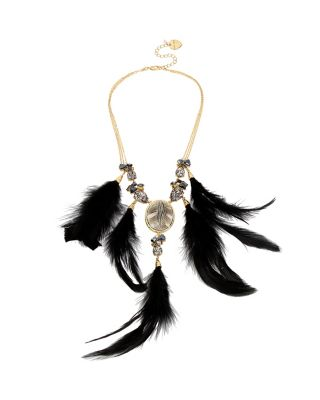 SKELETONS AFTER DARK FEATHER NECKLACE BLACK