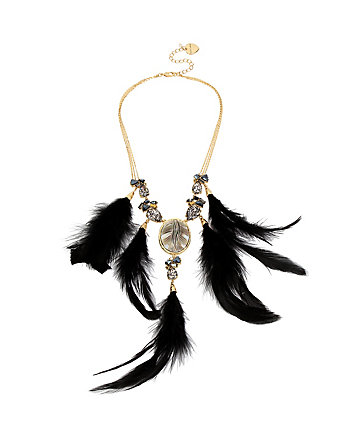 SKELETONS AFTER DARK FEATHER NECKLACE
