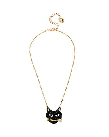 SKELETONS AFTER DARK PAVE CAT PENDANT NECKLACE