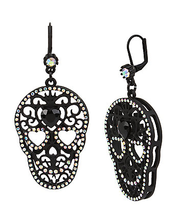 SKELETONS AFTER DARK RUBBER SKULL DROP EARRING