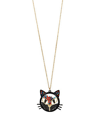 SKELETONS AFTER DARK SHAKEY CAT PENDENT NECKLACE