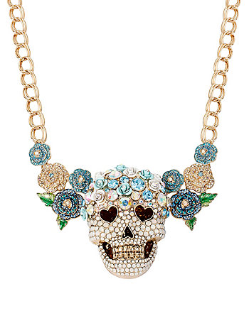 SKULLS AND ROSES FLOWER SKULL NECKLACE