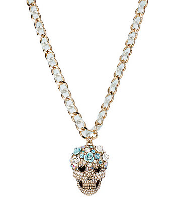 SKULLS AND ROSES SKULL HEAD PENDANT