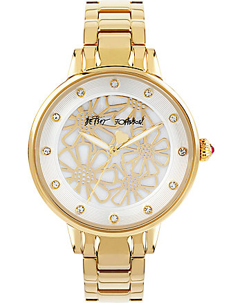 SLIM SOPHISTICATES FLORAL MOTIF GOLD WATCH