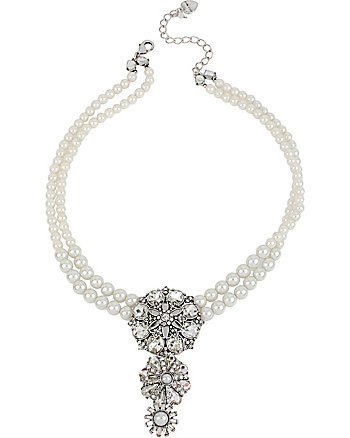 SOMETHING NEW PEARL AND RHINESTONE NECKLACE