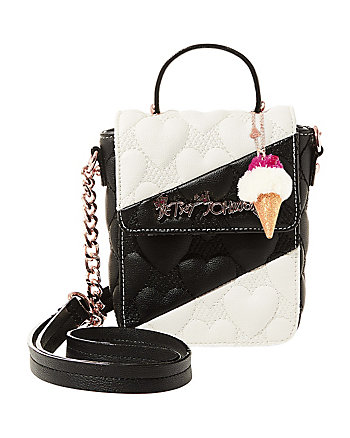 SPLIT DECISION QUILTED HEART CROSSBODY