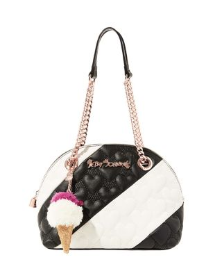 SPLIT DECISION QUILTED HEART DOME SATCHEL BLACK/WHITE