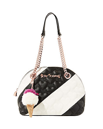 SPLIT DECISION QUILTED HEART DOME SATCHEL
