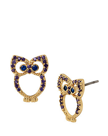 SPRING CRITTER CZ OWL STUD EARRINGS