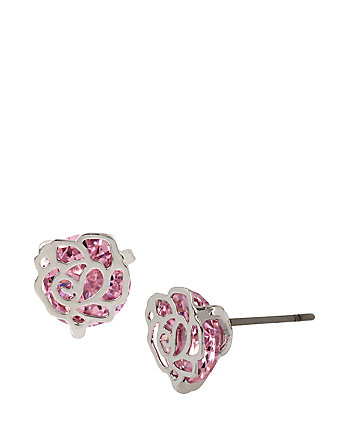SPRING CRITTER CZ ROSE STUD EARRINGS