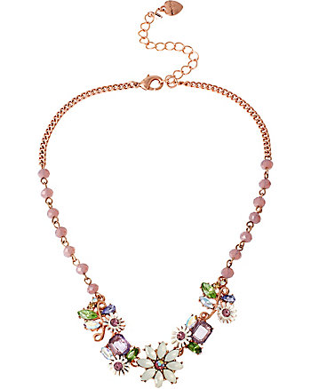SPRING FLING PURPLE FLOWER BEAD NECKLACE