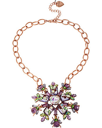SPRING FLING PURPLE RHINESTONE CLUSTER NECKLACE