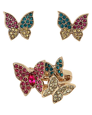 SUPER SETS BUTTERFLY RING AND EARRINGS