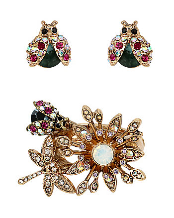 SUPER SETS FLOWER RING AND BUG EARRINGS