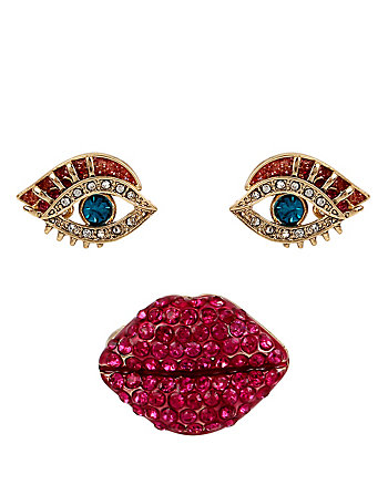 SUPER SETS LIP RING AND EYE EARRINGS
