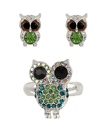 SUPER SETS OWL RING AND EARRINGS