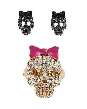 SUPER SETS SKULL RING AND EARRINGS