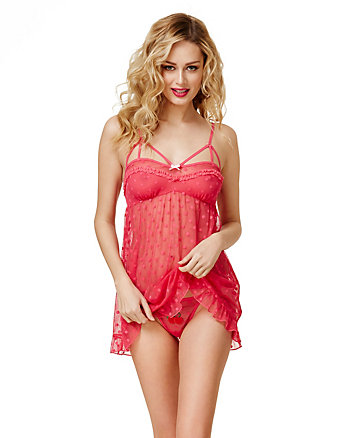 SWEET CHERRY PIE DOT MESH BABYDOLL SET