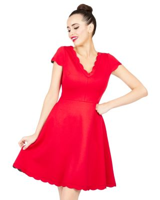 SWEET SCALLOP EDGE DRESS RED