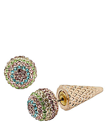 SWEET SHOP ICE CREAM CONE FRONT BACK EARRINGS