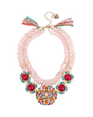 SWEET SHOP PINK BEAD STATEMENT NECKLACE PINK