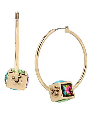 SWEET SHOP SPINNING CUBE HOOP EARRINGS MULTI