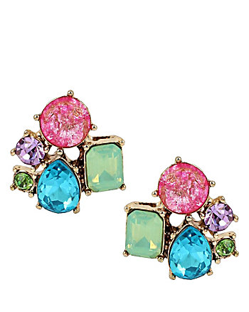 SWEET SHOP STONE CLUSTER STUDD EARRINGS