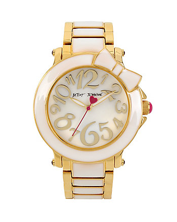 SWEET WHITE BOW ENAMEL WATCH