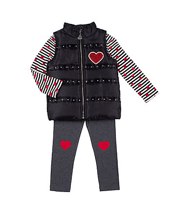 SWEETHEART TODDLER THREE PC PUFFY VEST SET