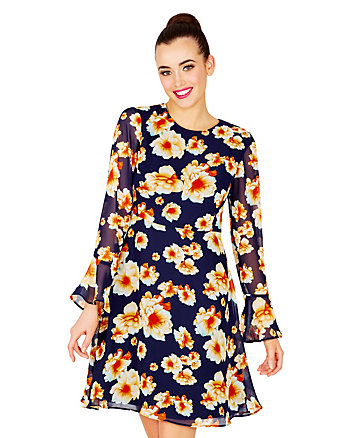 TIE BACK SHEER SLEEVE FLORAL DRESS
