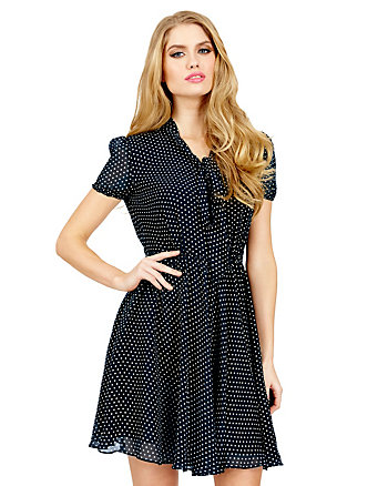 TIE FRONT SHORT SLEEVE DRESS