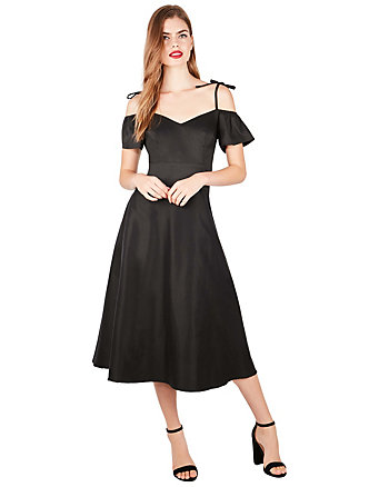 TIE SHOULDER TEA LENGTH DRESS