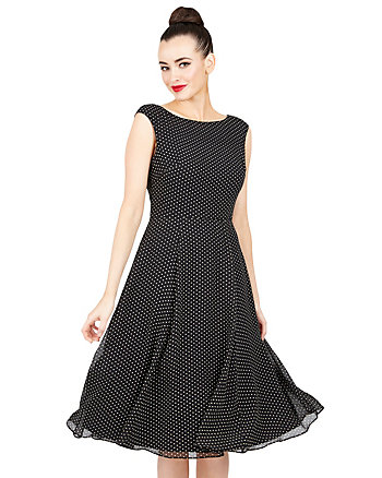 TINY DOTS MIDI SWING DRESS