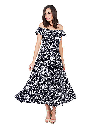 TINY DOTS RUFFLE NECK DRESS