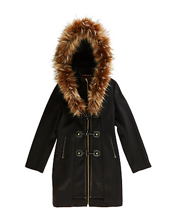 TOGGLE FRONT COAT WITH FAUX FUR TRIM