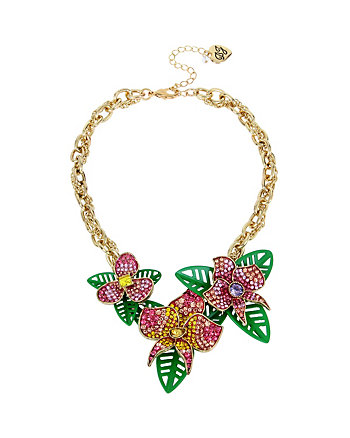 TROPICAL PUNCH FLOWER FRONTAL NECKLACE