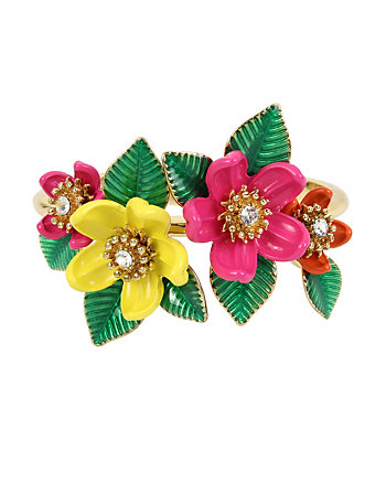 TROPICAL PUNCH FLOWER HINGE BANGLE