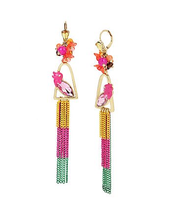 TROPICAL PUNCH PARROT LINEAR EARRINGS