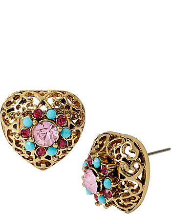 TURQS AND CAICOS FILIGREE HEART STUD EARRINGS