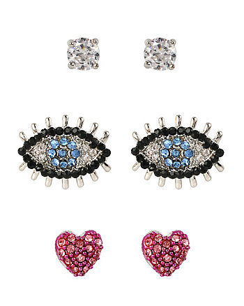 VDAY DELICATES EYE HEART STUD SET
