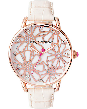 VINTAGE FLORAL ROSE GOLD AND CREAM WATCH