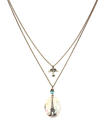 VINTAGE LOCKETS EIFFEL TOWER AND PLANE NECKLACE