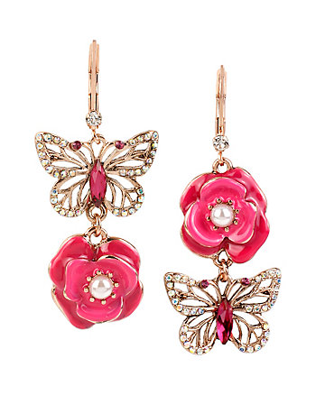 VINTAGE LOCKETS FLOWER MISMATCH DROP EARRINGS