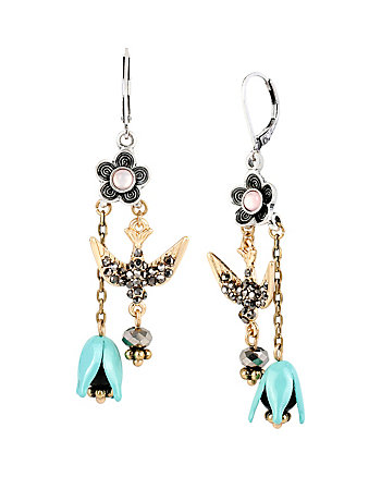 WANDERLUST BIRD AND FLOWER DOUBLE DROP EARRINGS