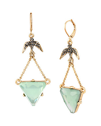 WANDERLUST BIRD TRIANGLE DOUBLE DROP EARRINGS