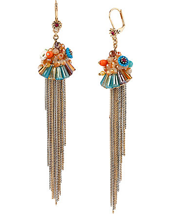 WEAVE AND SEW MULTI WOVEN FRINGE LINEAR EARRINGS
