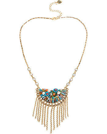 WEAVE AND SEW MULTI WOVEN FRINGE NECKLACE
